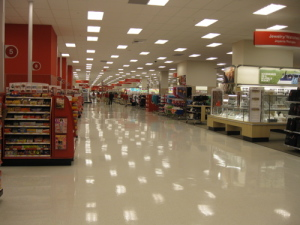 The empty aisles of Target.